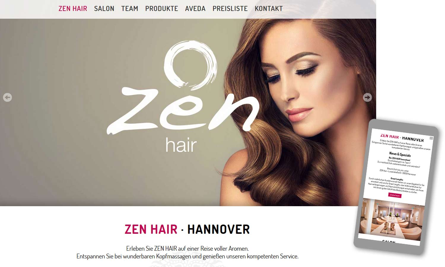 Webdesign www.zen-hair.de